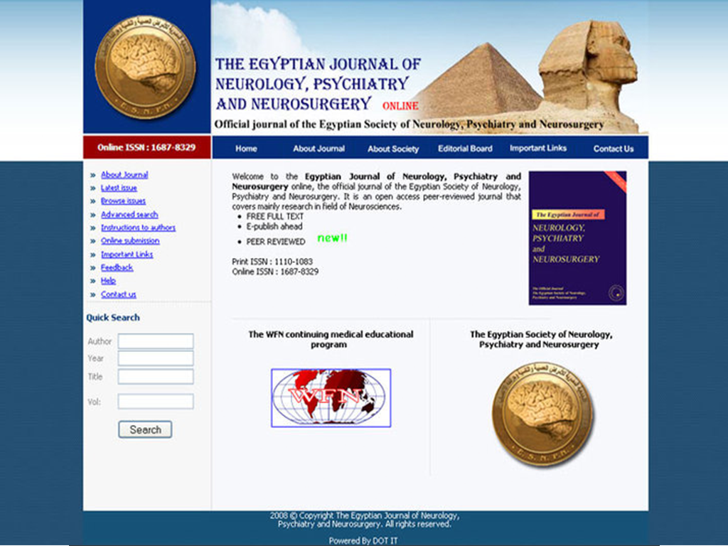 The Egyptian Journal Of Neurology, Psychiatry And Neurosurgery Website