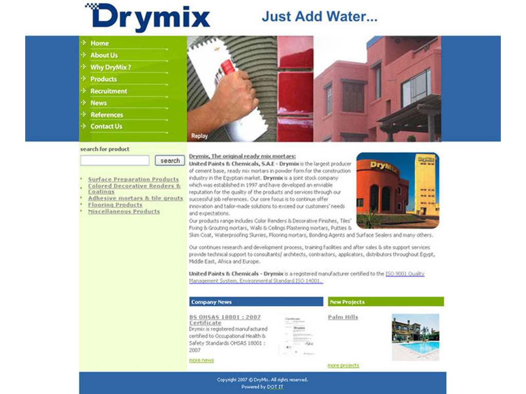 DryMix Pre-mixed Cementitious Mortars. Website